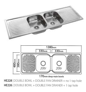 double bowl double drainer sink