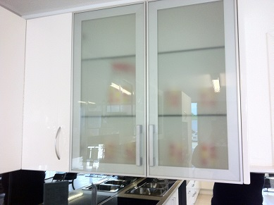 Image of kitchen showroom Aluminum framed frosted  glass doors.
