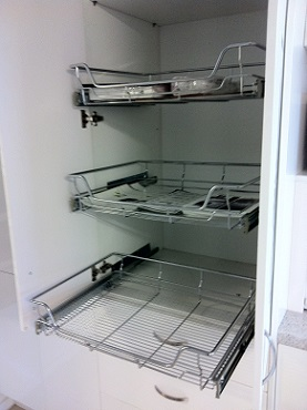 Image of showroom Pantry pull out shelving.